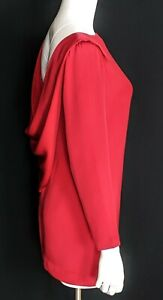 RICHILENE Vintage 80's Sz 8 Red Silk Long Sleeve Open Draped Back Mini Dress