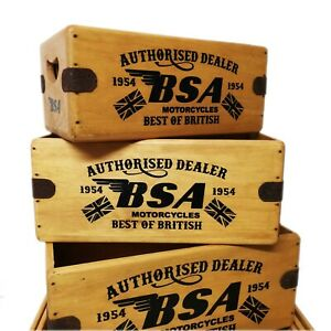BSA Vintage Wooden Box Classic Bike Crate Enamel Sign