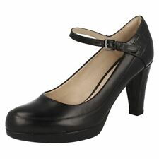 Patternless 100% Leather Mary Janes Slim Heels for Women