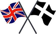 Motorsport Exterior Vinyl Decal UK & Cornwall Kernow Crossed Flags Stickers x2
