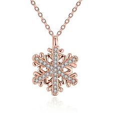 snowflake Pendent 18k Rose Gold Filled Fashion Necklace Vogue Jewelry Wholesale
