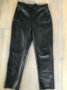 Womens Faux Leather Black Trousers Size 10 Primark