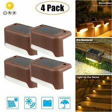 4pcs Solar Powered Led Deck Lights Outdoor Path Garden Stairs Step Fence Lamp