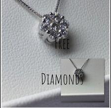 collana oro bianco con ciondolo  punto luce mod.magic 0,40ct diamanti