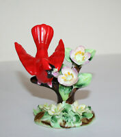 VINTAGE MID-CENTURY ERICH STAUFFER BONE CHINA BIRD CARDINAL FLOWERS FIGURINE
