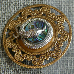 """Antique Vtg White Metal Snake Button w/ Mother of Pearl ~Aprx:1-3/4""""~#911-A"""