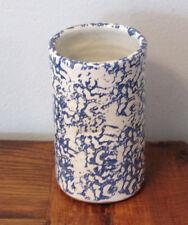 Blue White Spongeware Redware Stoneware YELLOW BANKS POTTERY Utensil Crock