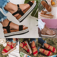 Women Flat Heel Platform Espadrille Sandals Ankle Strap Peep Toe Beach Pump Shoe