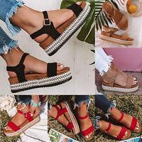 Damen Sandalen Schuhe Keilabsatz Wedge Plateau Espadrille Riemchen Sandaletten