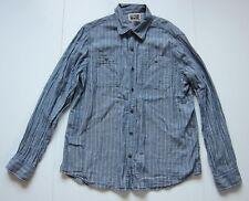 Converse 100% Soft Cotton Blue White Stripe Long Sleeve Button Down Shirt Men L