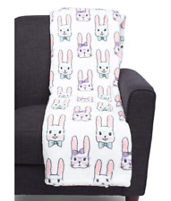 "Plush Bunny Rabbit Throw Blanket 50 x 60"" Girl & Boy Easter Bunnies w/Glasses"