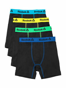 Reebok Boys Size Large Cool & Dry Boxer Briefs, Stretch Performance, 4-Pairs