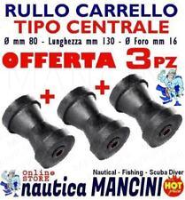 3 RULLI CENTRALI REGGICHIGLIA 130X80 MM RICAMBIO CARRELLO BARCA RULLO TRASPORTO