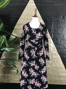 Original Vintage 1980s Black Midi Dress With Floral Detail