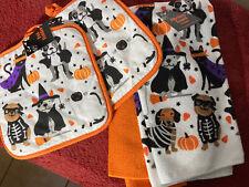 halloween kitchen towels Dog Cats Costume W/pot Holders