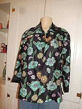 Chico's Black Floral Sequined Beaded Silk Embroidered Button Up Women Jacket S 1