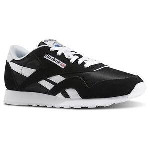 Reebok 6604:CL Nylon Classic BLACK/White Casual Walking Comfort Sneakers for MEN