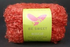 Be Sweet Boucle Mohair Yarn Tomato Red Hand Spun Dyed Bulky One Skein Scarf Hat