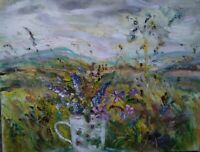 Wild Flowers,Wensleydale.OIL PAINT, . signed.Impressionism.Canvas.Yorks. Dales