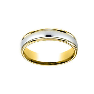 Comfort-Fit Polished Carved Design Men's Wedding Band Ring 14K Two-Tone Gold 4MM