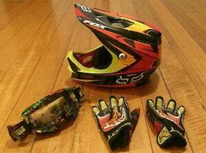 Fox Rampage Carbon Fibre Off Road Helmet + Scott Goggles & Gloves - VGC - Lot