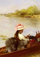 Oil painting ferdinand heilbuth - la promenade sur le lac walk on the lake view