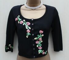 Karen Millen Black Floral Embroidered Sequined Cardigan Bolero Shrug KM 1 8-UK