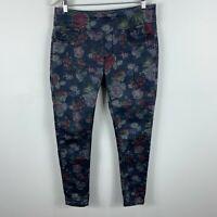 Lola Jeans Womens Pants US 10 AU 12 Blue Floral Stretch Mid Rise Elastic Waist