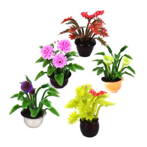 5pcs Mini Dollhouse Miniature Flower Pot Plant Model Garden Home Decor DIY Toy
