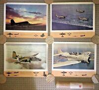 (4) ORIGINAL WW2 DOUGLAS AIRCRAFT POSTERS A-24 + SBD DAUNTLESS , SKYTRAIN, HAVOC