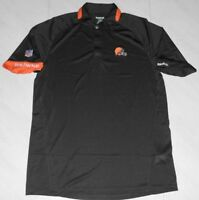 Cleveland Browns Sideline Stay Dry Polo Shirt Small Brown Embroidered Logos NFL