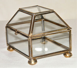 Super-Nice Vtg/Antique BRASS & GLASS SQUARE BOX W/ DOMED LID Jewelry~Display