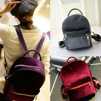 Stylish Fashion Women Lady Backpack Book Shoulder Bag Travel Zipper Solid Colour