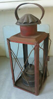 ANTIQUE / VINTAGE RED  BARN LAMP / STORM LANTERN - 18 INCHES TALL