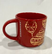 Starbucks Red Christmas Coffee Mug Cup Gold Ornaments 14 Oz Holidays 2015