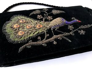 VINTAGE HAND EMBROIDERED Metal Thread Work PEACOCK Black Velvet Handbag Purse