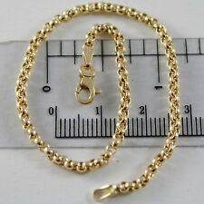 SOLID 18K YELLOW GOLD BRACELET WITH ROUND CIRCLE ROLO LINK, 2.5 MM MADE IN ITALY