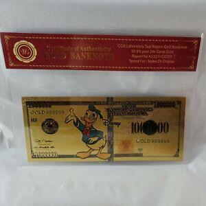 Disney Donald Duck One Million Dollars - Wr COA Gold Banknote - 99.9% 24K Gold