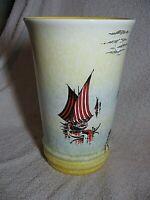 Vintage Sylvac Tall Trumpet Shape Vase Venice Gondoliers Italian Scene.