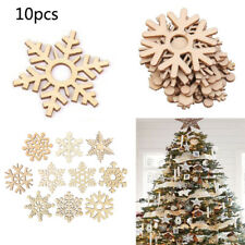 10pcs Assorted Christmas Tree Ornament Wooden Snowflakes Tag Wedding Home Decor