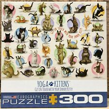 """COMPLETE Eurographics """"Yoga Kittens"""" 300 Piece Jigsaw Puzzle - Cats RARE"""