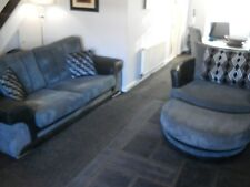 3 Seater Sofa,  Large Swivellove Chair+ Foot Stool from scs + dunelm large rug