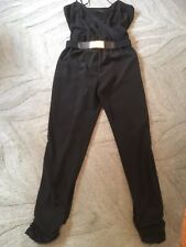 Womens RIVER ISLAND Jumpsuit UK 10 Black Strappy Rose Gold Buckle (B37)