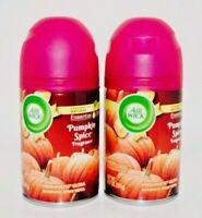 2 Air Wick Pumpkin Spice Freshmatic Ultra Automatic Spray Refill -Essential Oils