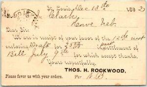1892 ST. LOUIS, Missouri Business Postcard THOS. H. ROCKWOOD Receipt w/ Cancel
