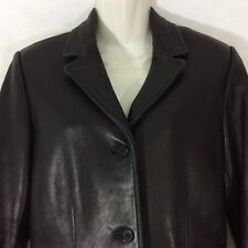 Kenneth Cole Reaction Womens Black Leather Lambskin Jacket Size Small 4/6