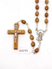 Real Olive Wood Rosary with Our Lady Medal Junction