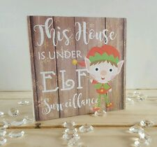 This house is under elf surveillance mini Freestanding plaque christmas decor