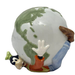 Vintage Disney Goofy with World Ceramic Coin Bank Piggy Bank World in your hands