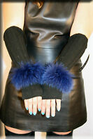 New Black Chenille Fingerless Gloves Blue Fox Fur Trim Hand Warmer Efurs4less
